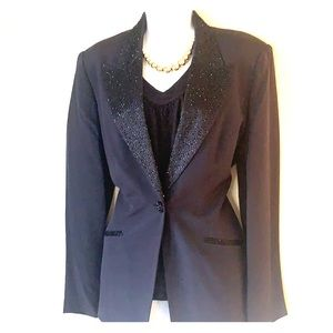 Bloomingdales silk tuxedo blazer beaded